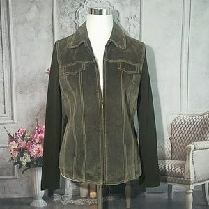 Coldwater Creek Brown Knit Leather Jacket Size 10